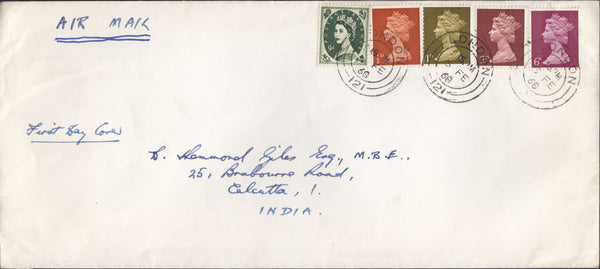 118304 1968 MAIL LONDON TO INDIA/WILDING AND PRE DECIMAL MACHIN COMBINATION.