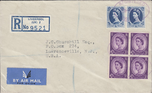 118310 1961 REGISTERED AIR MAIL LIVERPOOL TO USA.