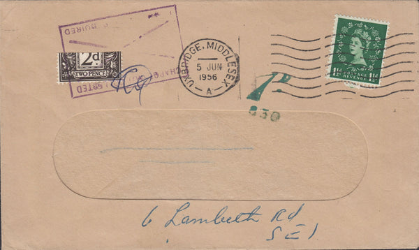 118400 1956 MAIL UXBRIDGE TO LONDON WITH 2D POSTAGE DUE VARIETY BISECTED.