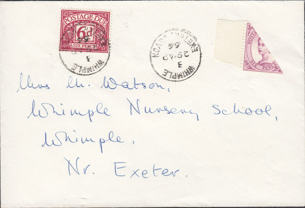 118409 1966 MAIL USED IN WHIMPLE (DEVON) WITH 6D WILDING BISECT.