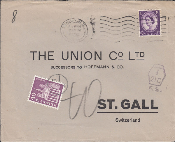118449 1962 UNDERPAID MAIL LONDON TO ST. GALL SWITZERLAND.