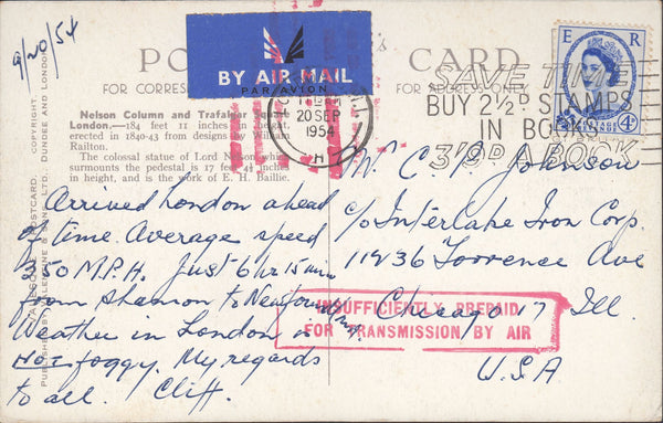 118501 1954 MAIL LONDON TO USA 'INSUFFICIENTLY PREPAID FOR TRANSMISSION BY AIR'.