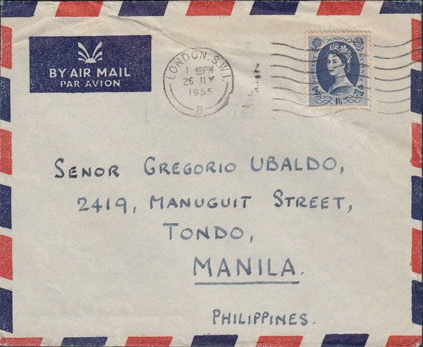 118505 1955 MAIL LONDON TO PHILIPPINES.
