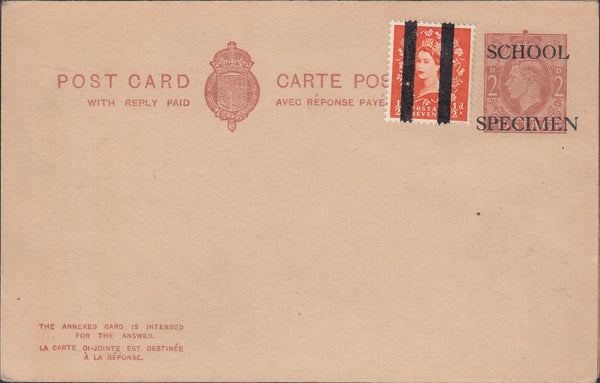 118558 1951-53 KGV1 2D RED-BROWN REPLY PAID POST CARD/POST OFFICE TRAINING.