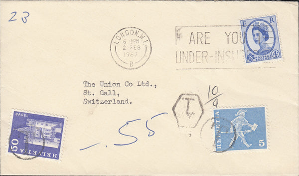 118699 1967 UNDERPAID MAIL LONDON TO ST. GALL SWITZERLAND.