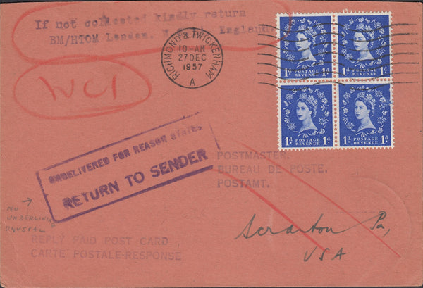 118708 1957 UNDELIVERED MAIL RICHMOND AND TWICKENHAM TO USA.