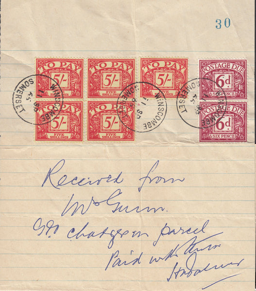 118717 1965 GPO CHARGES ON PARCEL RECEIPTED WITH POSTAGE DUES.