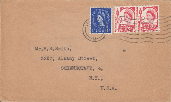 118719 1967 MAIL LONDON TO USA WITH COMBINATION WILDING AND JERSEY ISSUES.