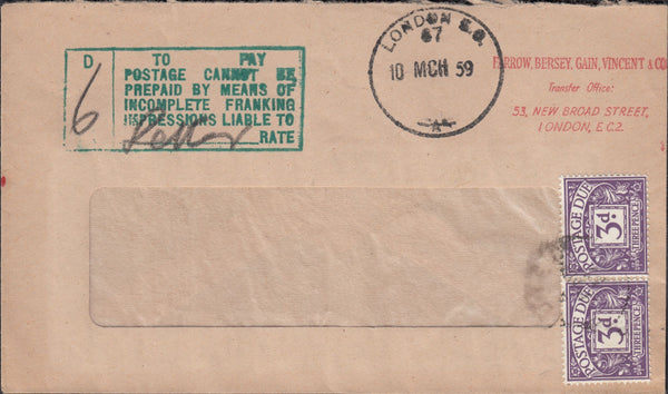 118755 1959 SURCHARGED MAIL DUE TO INCOMPLETE FRANKING IMPRESSION.