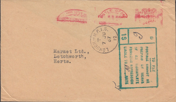 118762 1967 SURCHARGED MAIL DUE TO INCOMPLETE FRANKING IMPRESSION.