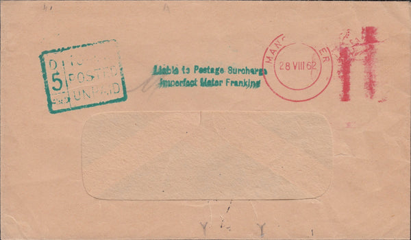 118766 1962 SURCHARGED MAIL DUE TO INCOMPLETE FRANKING IMPRESSION.