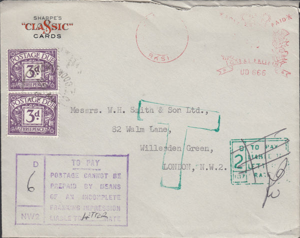 118767 1961 SURCHARGED MAIL DUE TO INCOMPLETE FRANKING IMPRESSION.