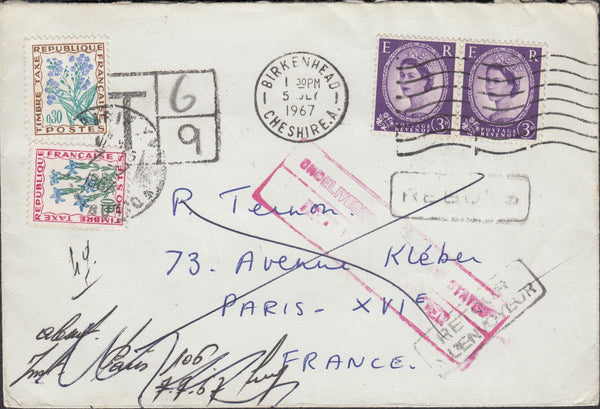 118797 1967 UNDERPAID MAIL BIRKENHEAD TO PARIS.