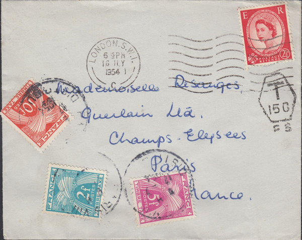 118798 1954 UNDERPAID MAIL LONDON TO PARIS.