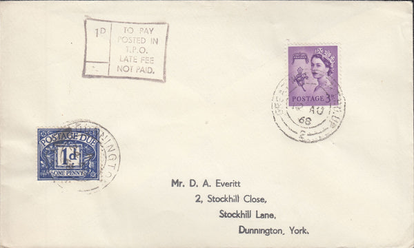 118966 1968 'GREAT WESTERN T.P.O. UP' DATE STAMP ON COVER.