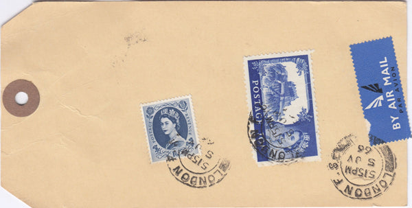 118996 1966 UNADDRESSED PARCEL TAG WITH 10S CASTLE ISSUE.