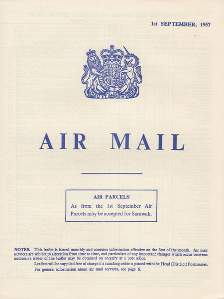 119398 1957 'AIR MAIL' G.P.O. PAMPHLET.