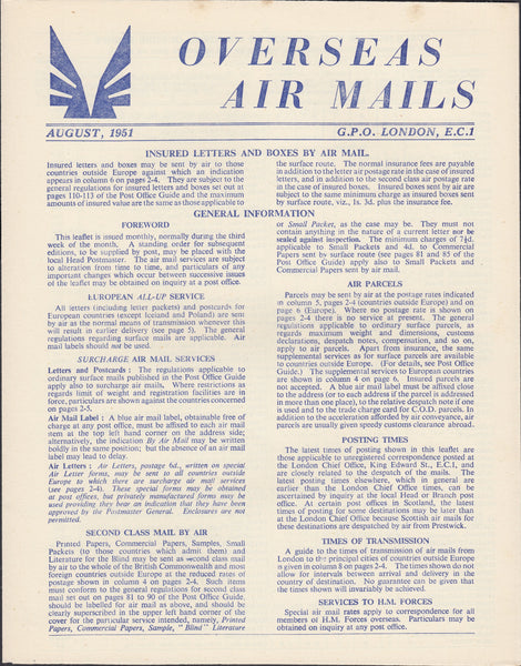 119404 1951 'OVERSEAS AIR MAILS' G.P.O. PAMPHLET.