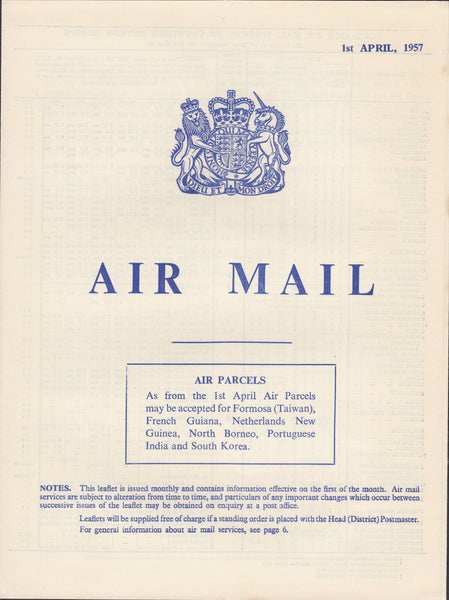 119405 1957 'AIR MAIL' G.P.O. PAMPHLET.