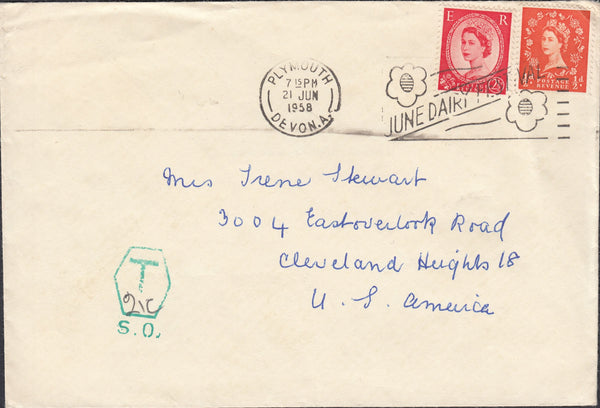 119432 1958 UNDERPAID MAIL PLYMOUTH TO USA.