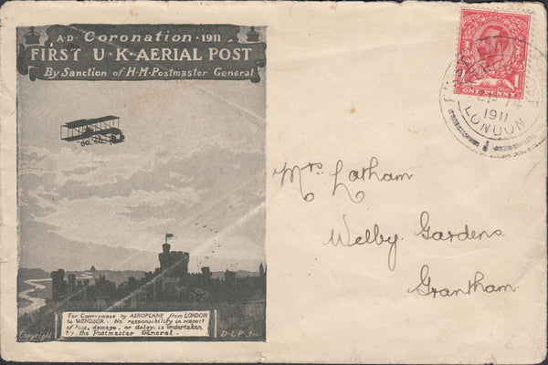119444 1911 FIRST OFFICIAL U.K. AERIAL POST/USED LONDON EMERGENCY ENVELOPE IN OLIVE-GREEN.