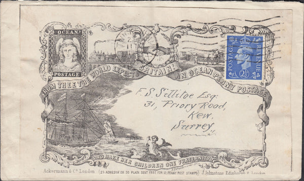 119447 1944 REPRINT OF ACKERMANN 'OCEAN POSTAGE' ENVELOPE TWICKENHAM TO KEW.