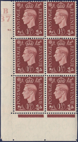 119525 1937 KGVI 1½D RED-BROWN (SG464) CYLINDER 42 DOT CONTROL B/37 BLOCK OF SIX.
