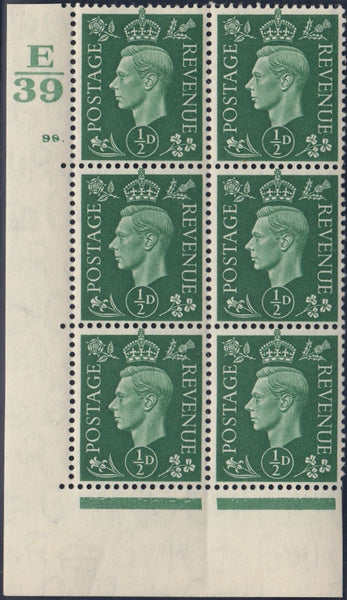 119534 1939 KGVI ½D GREEN (SG462) CYLINDER 98 DOT CONTROL E/39 BLOCK OF SIX STATE I.
