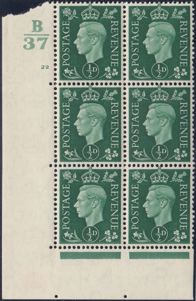 119537 1937 KGVI ½D GREEN (SG462) CYLINDER 22 CONTROL B/37 BLOCK OF SIX.