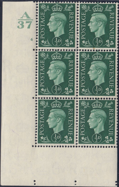 119538 1937 KGVI ½D GREEN (SG462) CYLINDER 6 CONTROL A/37 BLOCK OF SIX.