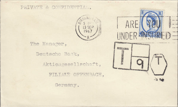 119547 1967 UNDERPAID MAIL BIRMINGHAM TO GERMANY.