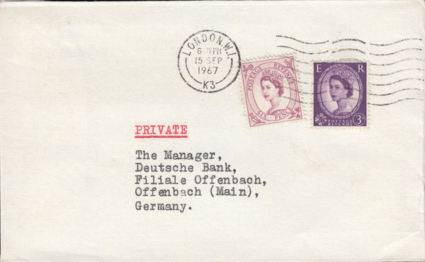 119550 1967 MAIL LONDON TO GERMANY.