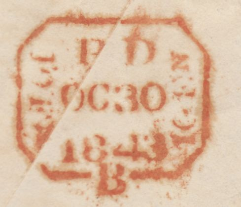 119595 1843 DORCHESTER MALTESE CROSS ON ENVELOPE TO HARROW/'N.L' HAND STAMP OF UNKNOWN ORIGIN.