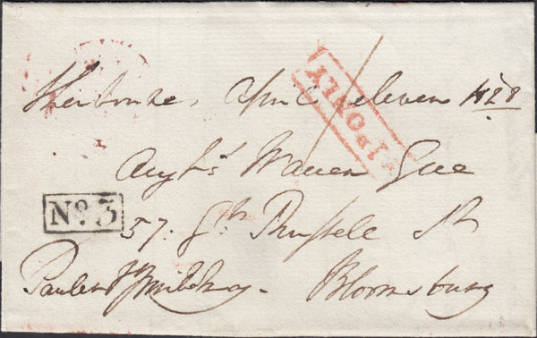 119639 1828 DORSET FREE MAIL SHERBORNE TO LONDON/'SHERBORNE PENNY POST' HAND STAMP (DT525).