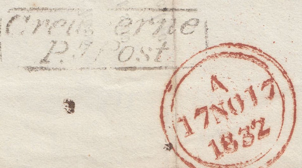 119675 1832 MAIL BEAMINSTER (DORSET) TO LONDON/'CREWKERNE PENNY POST' HAND STAMP (SO411).