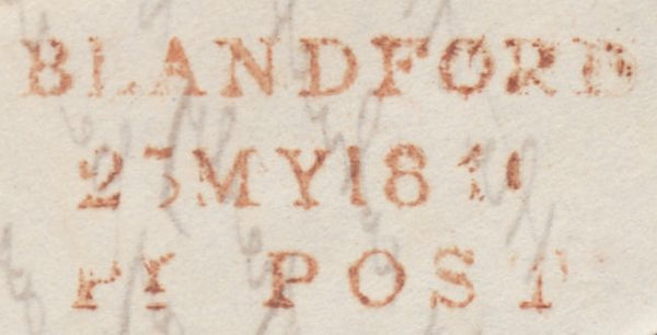 119688 1840 DORSET/'BLANDFORD PENNY POST' HAND STAMP (DT56).