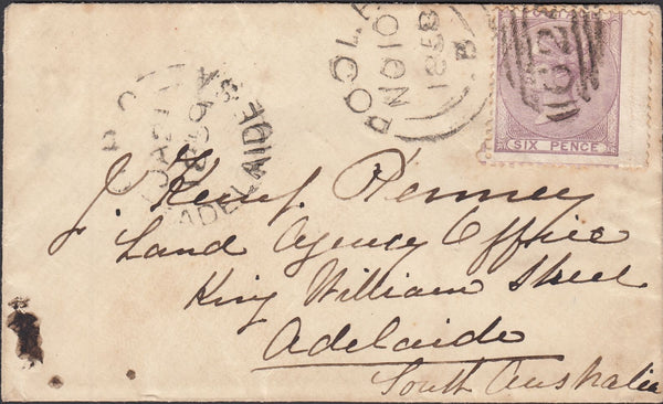 119867 1858 MAIL POOLE TO ADELAIDE SOUTH AUSTRALIA/6D PALE LILAC (SG70).