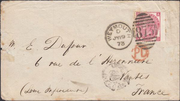 119881 1873 MAIL WEYMOUTH TO FRANCE/3D ROSE PL.10 (SG103).