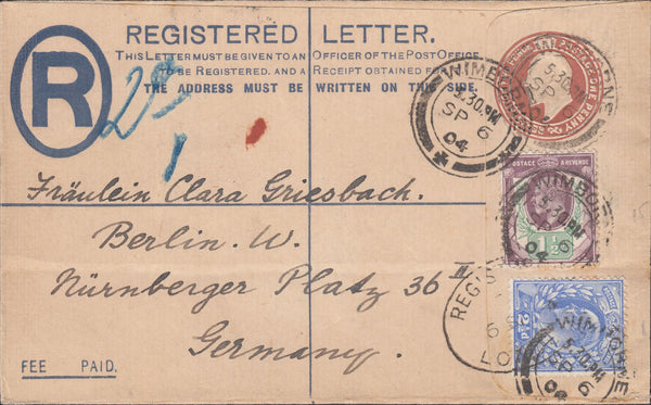 119952 1904 REGISTERED MAIL WIMBORNE TO GERMANY.