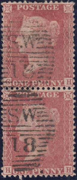 119966 1856-1857 DIE 2 1D PL.27 MATCHED PAIR LETTERED HH.