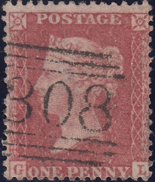119967 1856-57 DIE 2 1D PL.27 MATCHED PAIR LETTERED GL BLUED PAPER (SG29) AND WHITE PAPER (SG40).