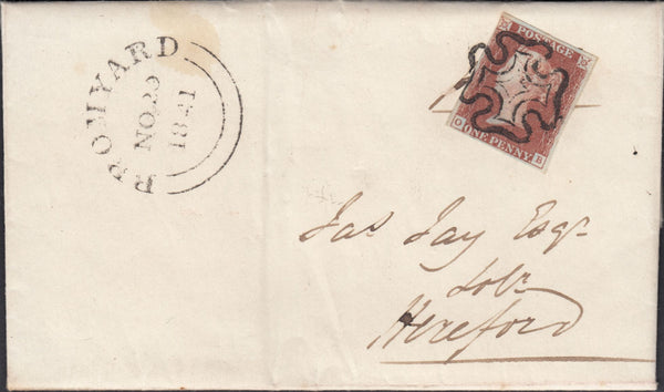 119998 1841 1D RED PL. TEN (SG7)(OB) ON COVER BROMYARD TO HEREFORD.
