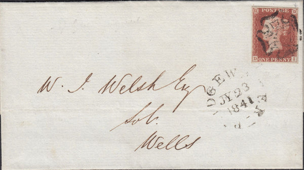 120001 1841 1D RED PL.9 (SG7)(DI) ON COVER BRIDGEWATER TO WELLS (SOMS).