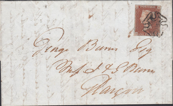 120025 1841 GREENOCK DISTINCTIVE MALTESE CROSS ON COVER TO GLASGOW (SPEC B1th).