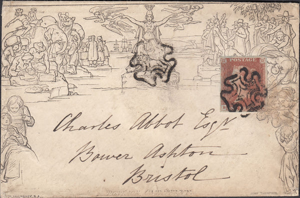 120167 1840 1D MULREADY ENVELOPE UPRATED 1D RED PLATE ELEVEN (SG7) AND CANCELLED DISTINCTIVE MALTESE CROSS OF KENDAL.