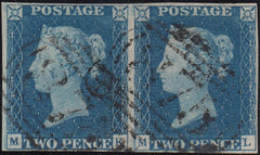120419 1840 2D BLUE PL.2 (SG5) HORIZONTAL PAIR (MK ML) CANCELLED 1844 '875' NUMERALS OF WHITBY (YORKS)(SPEC D1xc).