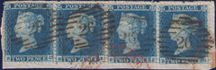 120978 1854 2D BLUE PL.4 S.C.16 (SG19) USED STRIP OF FOUR.