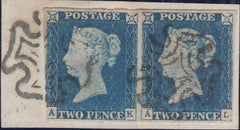 121368 1840 2D BLUE PL.1 (SG5) HORIZONTAL PAIR LETTERED AK AL, AK WITH CONSTANT VARIETY.