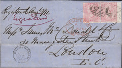 121534 1861 REGISTERED MAIL BIRMINGHAM TO LONDON.