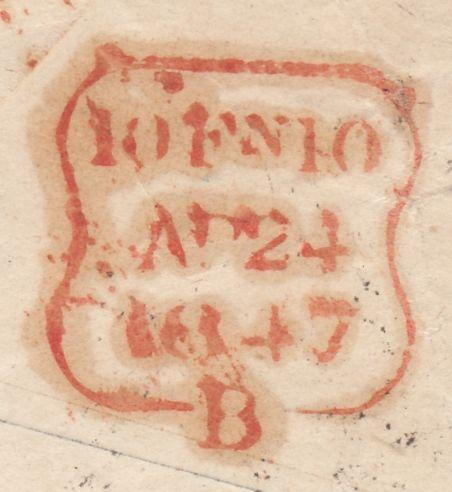 121888 1847 1D PINK ENVELOPE KNOWLE (WARKS) TO WANDSWORTH ON REVERSE 'KNOWLE' MAIL BAG HAND STAMP.
